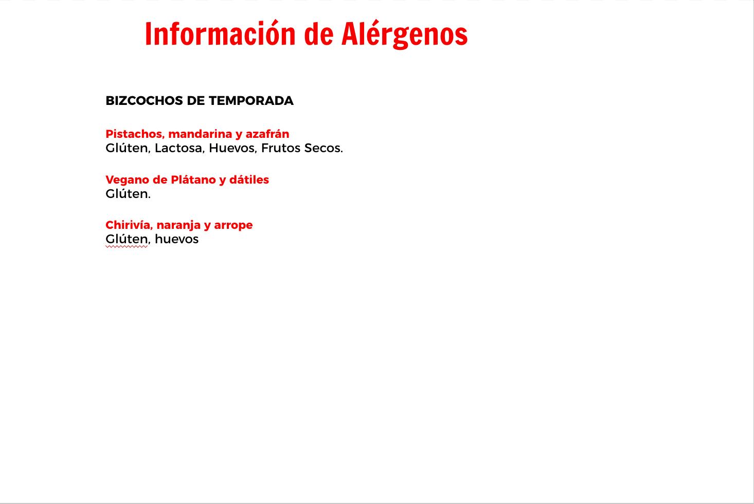 Información De Alérgenos